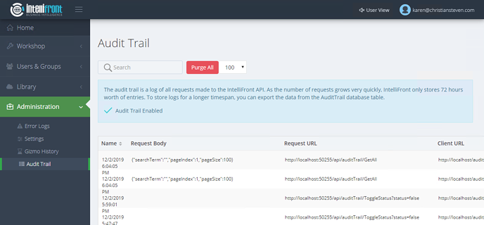 Dashboards and KPIs: Audit Trail in IntelliFront BI.