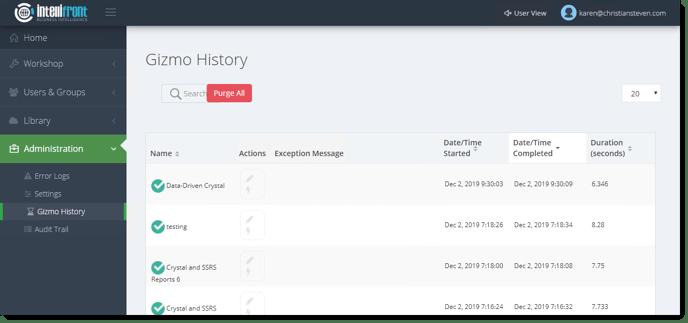 KPI's and Dashboards: Gizmo History in IntelliFront BI.