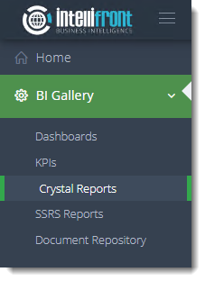 KPIs and Dashboards: Viewing Crystal Reports in User View in IntelliFront BI.