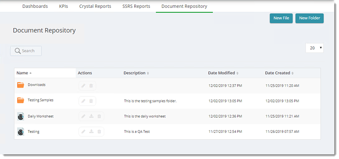 KPIs and Dashboards: Document Repository in User View in IntelliFront BI.