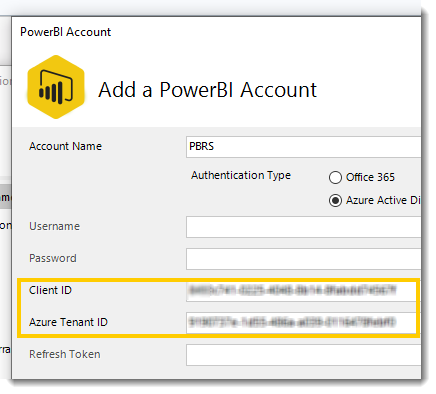Power BI Reports: Adding Power BI account using Azure Active Directory Authentication in PBRS.
