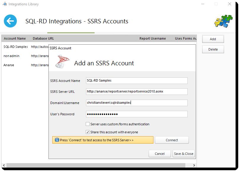 SQL-RD Integrations - SSRS Accounts