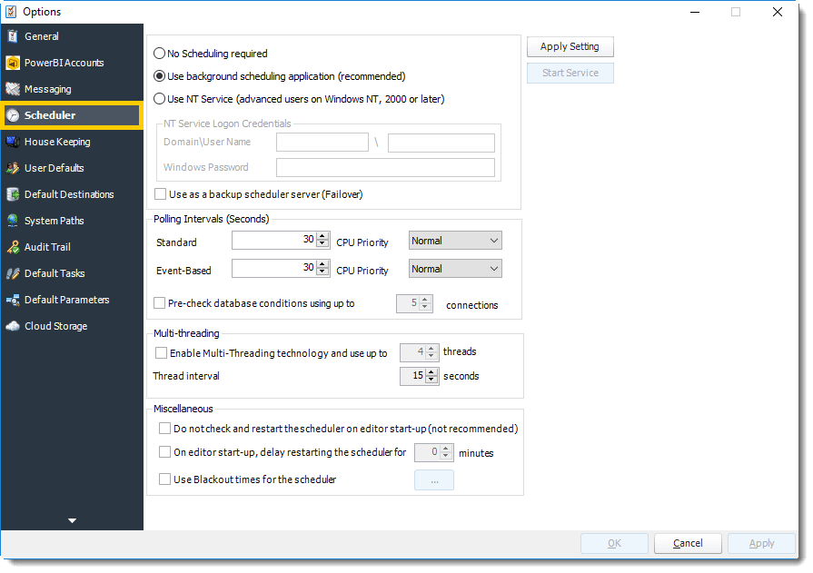 Scheduler Options in PBRS