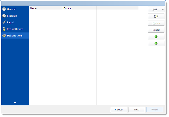 Crystal Reports: Destination Wizard in CRD.