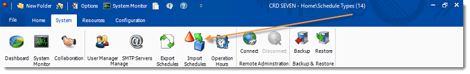 Crystal Reports: Import Schedules in CRD.