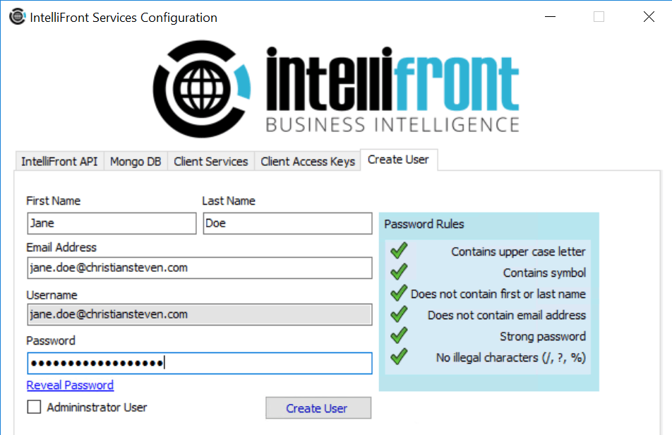 How To Create A User In IntelliFront BI
