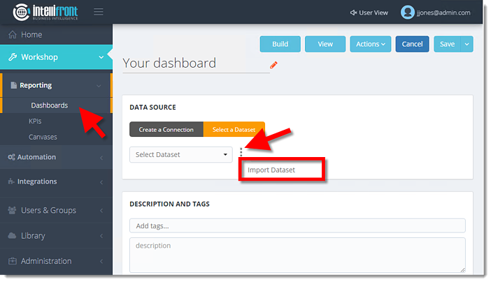 importing dataset in dashboard