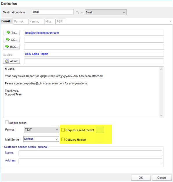 How to request read & delivery receipts when emailing Microsoft SSRS Reports