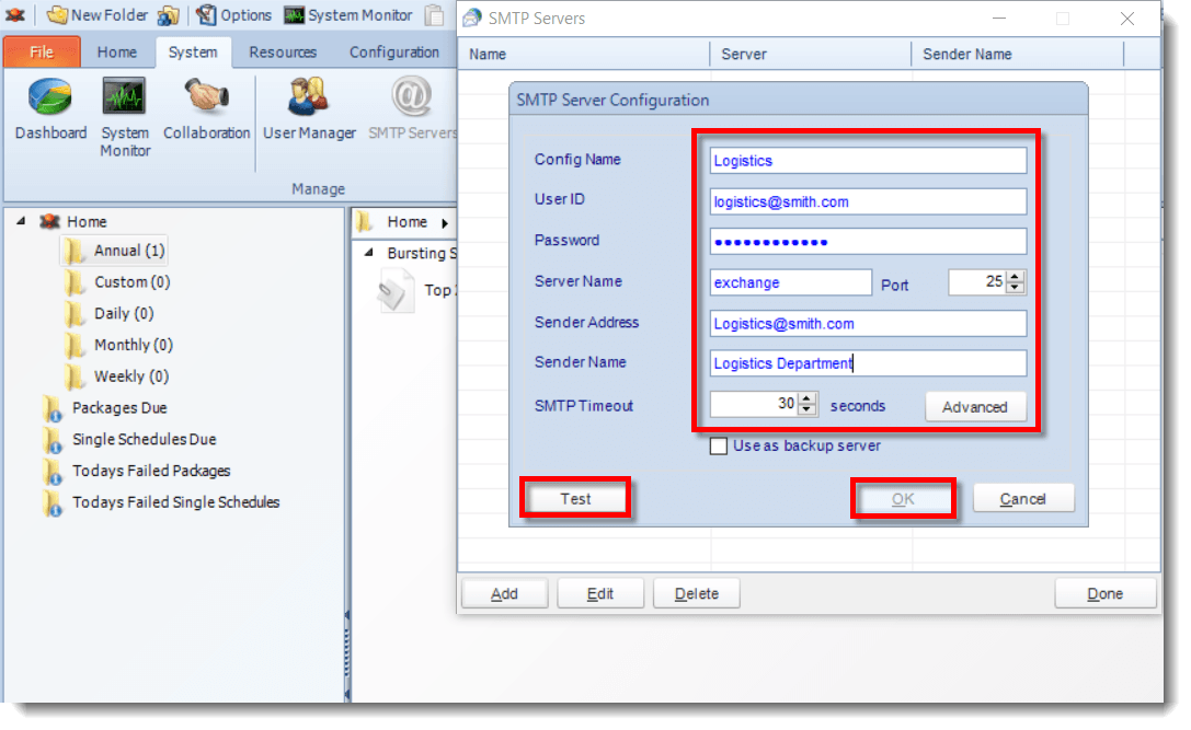 How to Email Crystal Reports From Multiple Email Accounts - Step 2