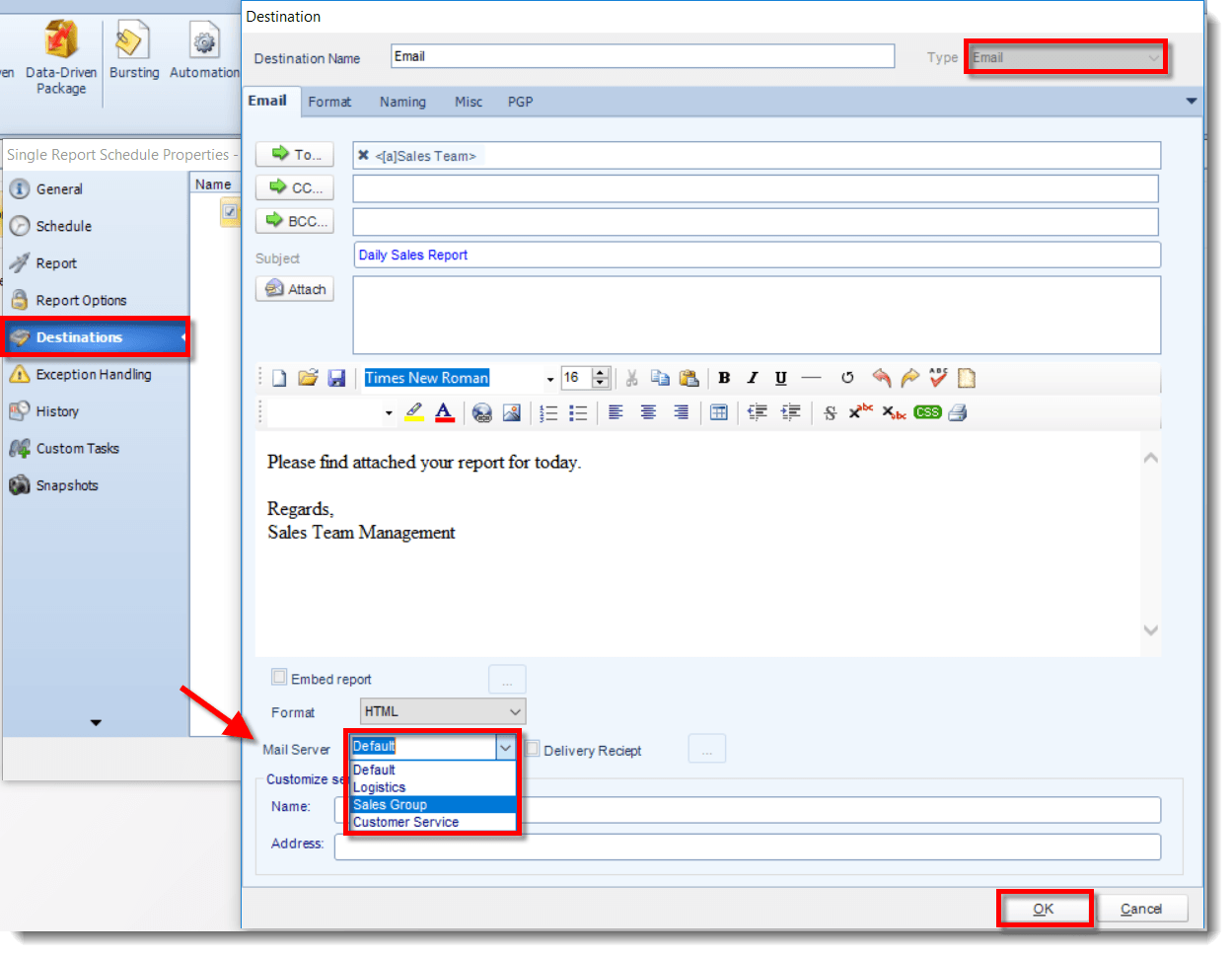 How to Email Crystal Reports From Multiple Email Accounts - Step 4