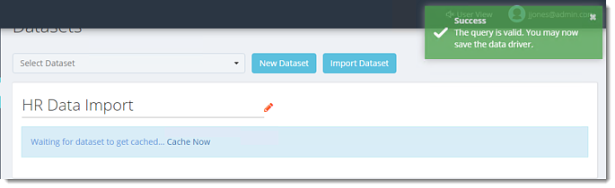 Query is valid - Dataset Import