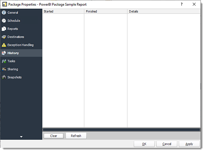 Power BI and SSRS. Package Schedule Report Properties for Power BI in PBRS.