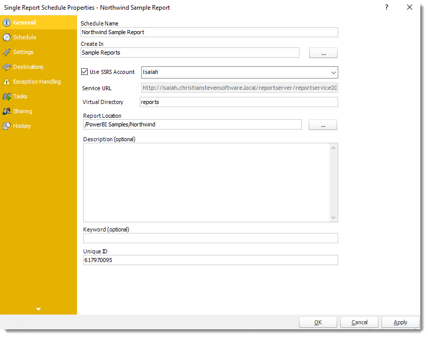Power BI and SSRS Reports: Single Report Schedule Properties in PBRS.