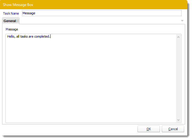 Power BI and SSRS: Show Message custom task in PBRS.