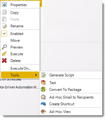 Power BI and SSRS. Data Driven Schedule Context Menu in PBRS