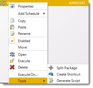 Power BI and SSRS. Event Based Packages Schedule Context Menu in PBRS.