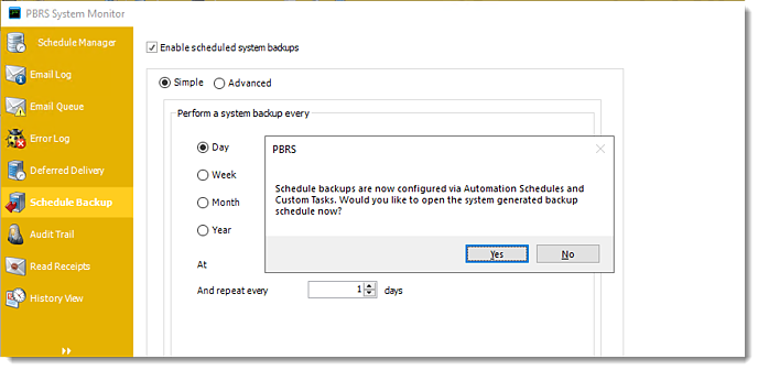 Power BI and SSRS. Schedule Backup in System Monitor in PBRS