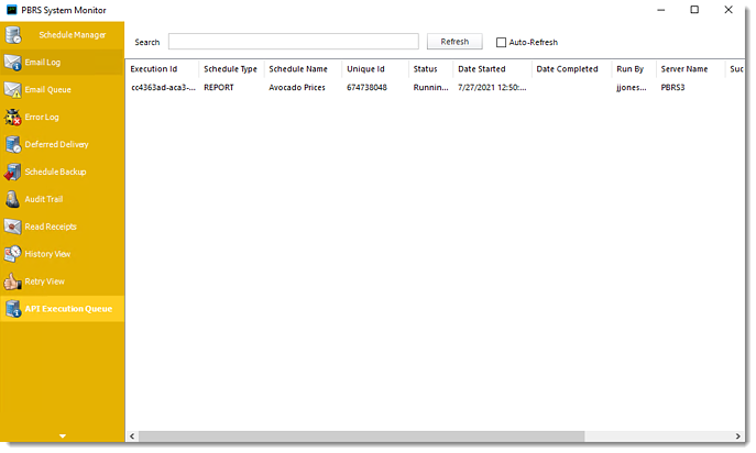 Power BI and SSRS Reports: API Execution Queue in System Monitor in PBRS.
