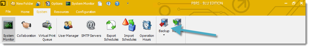 Backup in System tab PBRS