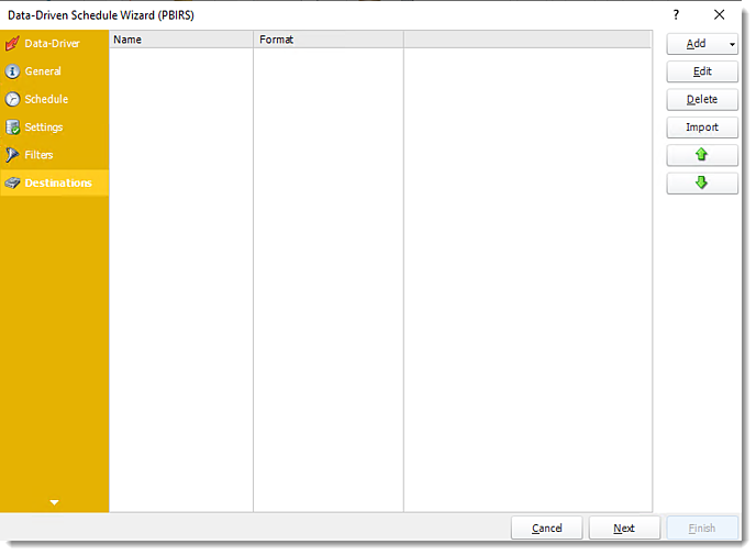 Power BI and SSRS Reports: Destination Wizard of PBIRS Data-Driven Schedule in PBRS.