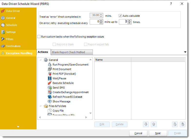 Power BI and SSRS Reports: Exception Handling Wizard of PBIRS Data-Driven Schedule in PBRS.