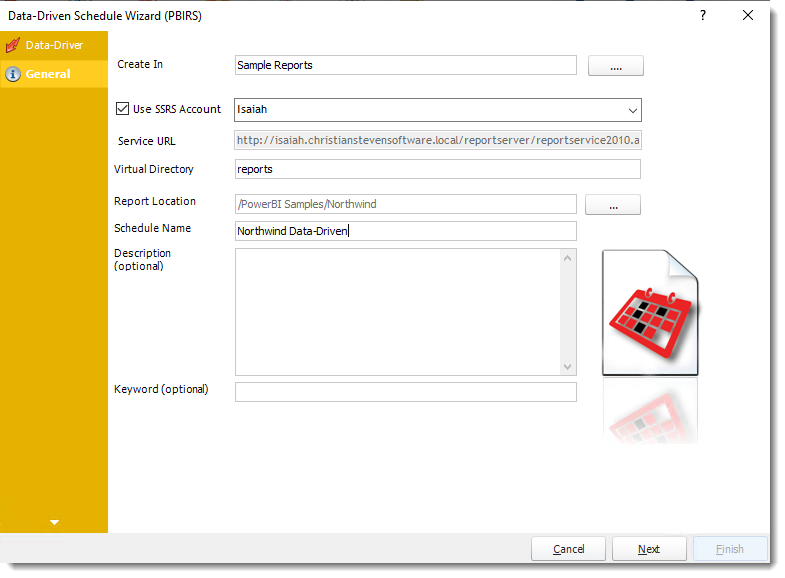 Power BI and SSRS Reports: General Wizard in PBIRS Data-Driven Schedule in PBRS.