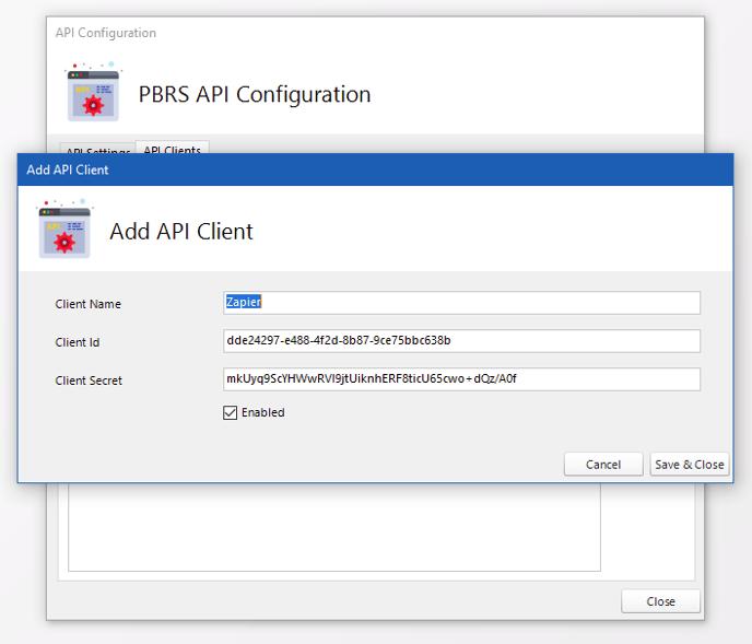 PBRS API Configuration Example