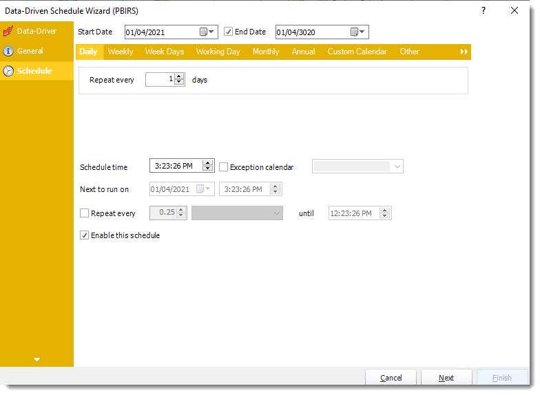 Power BI and SSRS Reports: Schedule Wizard in PBIRS Data-Driven Schedule in PBRS.