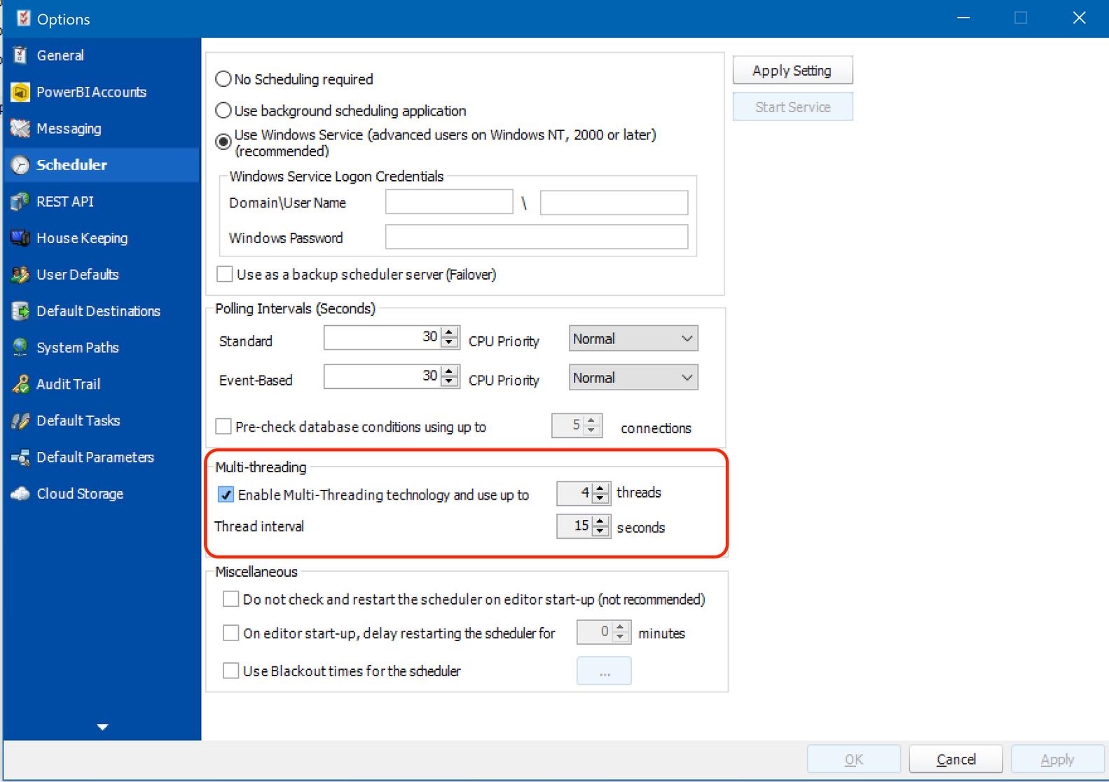 Configuración de subprocesos múltiples en PBRS