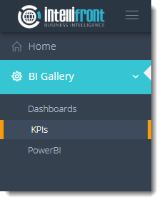 KPI's and Dashboards: Viewing KPI's in User View in IntelliFront BI.