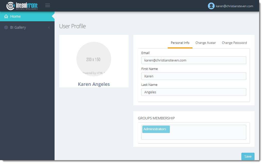 KPIs and Dashboards: Using User View in IntelliFront BI.