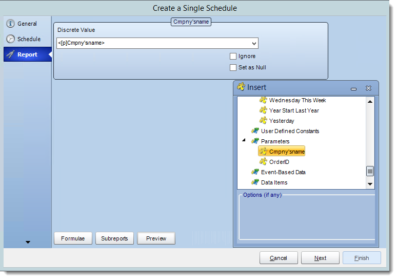 Crystal Reports: Report Wizard in Single Report Schedule in CRD.