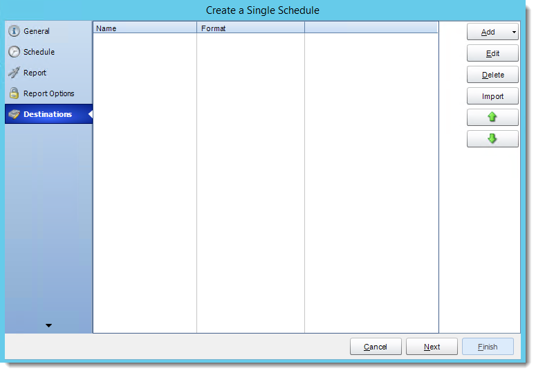 Crystal Reports: Destinations Wizard in Single Report Schedule in CRD.
