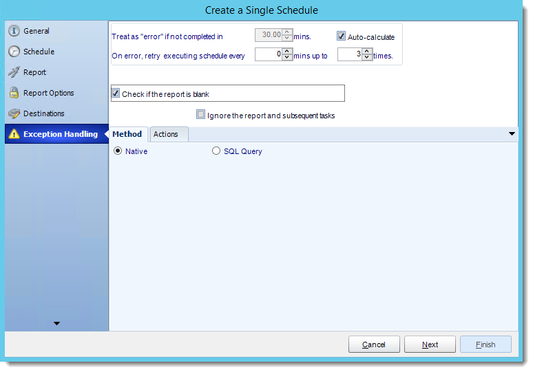 Crystal Reports: Exception Handling Wizard in Single Report Schedule in CRD.