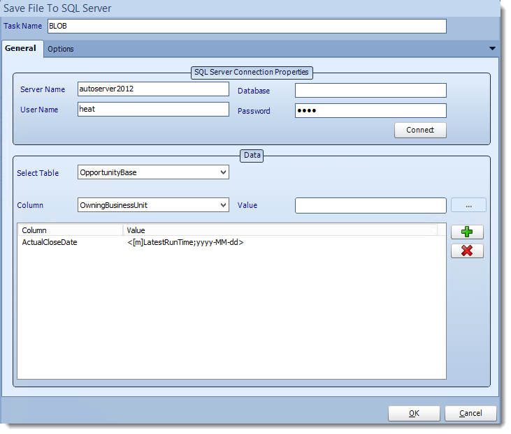 Crystal Reports: Save BLOB to SQL Server tasks in CRD.