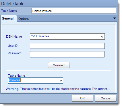 Crystal Reports: Delete a table tasks in CRD.