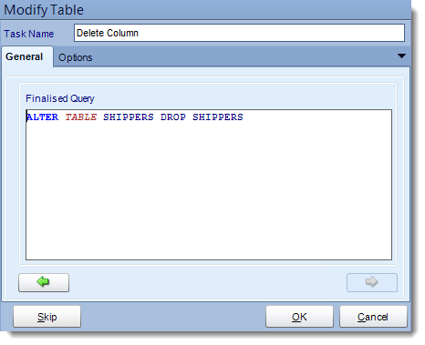 Crystal Reports: Delete column from table tasks in CRD.