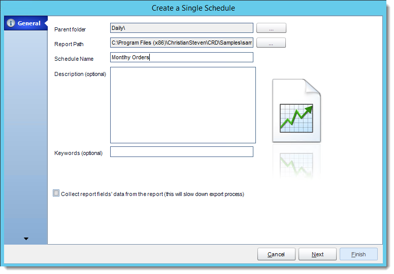 Crystal Reports: General Wizard in Single Report Schedule in CRD.