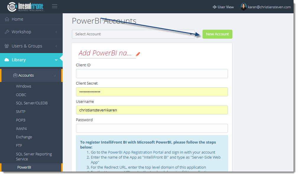 KPI's and Dashboards: Power BI Accounts in IntelliFront BI.