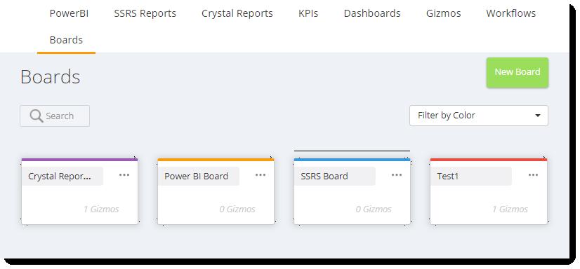 KPI's and Dashboards: Boards in IntelliFront BI.