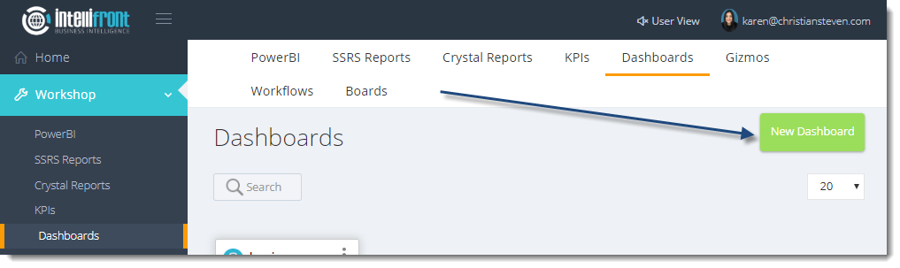 KPI's and Dashboards: Creating Dashboards in IntelliFront BI.