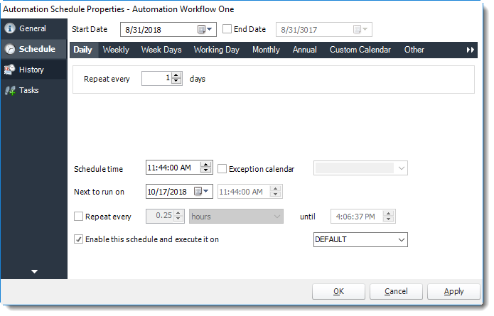 Power BI and SSRS. Schedule Wizard in Automation Schedule Properties in PBRS.