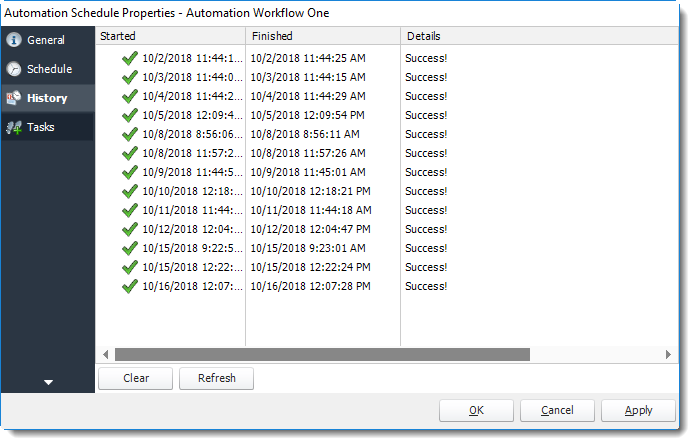 Power BI and SSRS. History Wizard in Automation Schedule Properties in PBRS.
