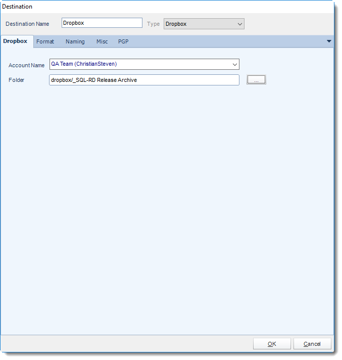 SSRS. Dropbox Destination in SQL-RD