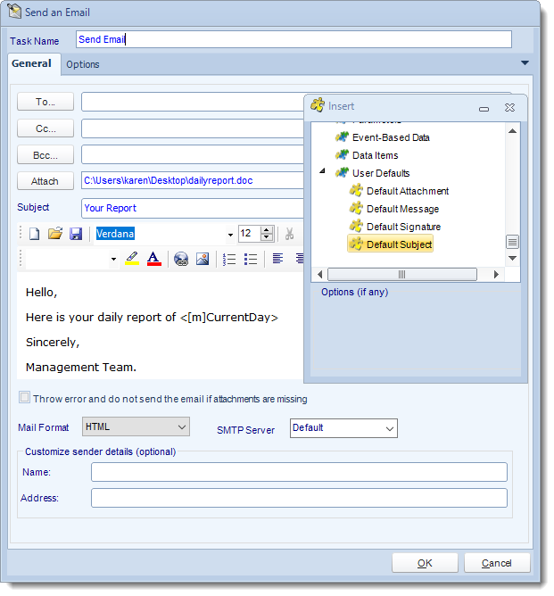 MS Access. Custom Tasks: Send Email in MARS.