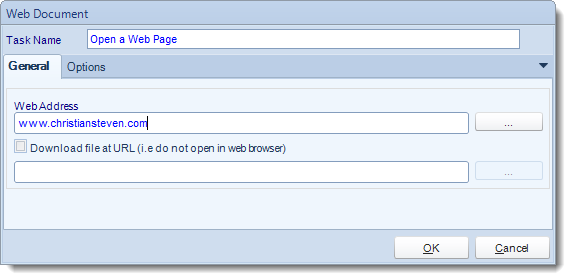 MS Access. Custom Tasks: Open Web Address in MARS.