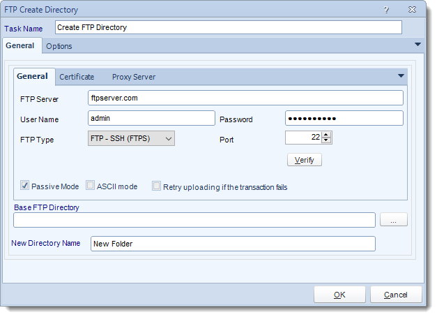 MS Access. Custom Tasks: Create FTP Directory in MARS.