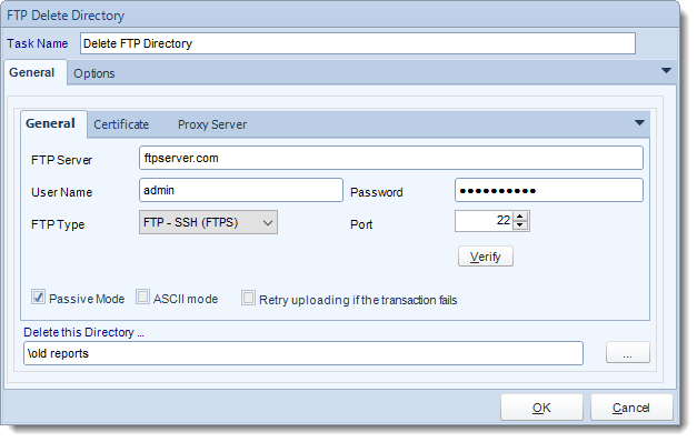 MS Access. Custom Tasks: FTP - Delete Directory in MARS.