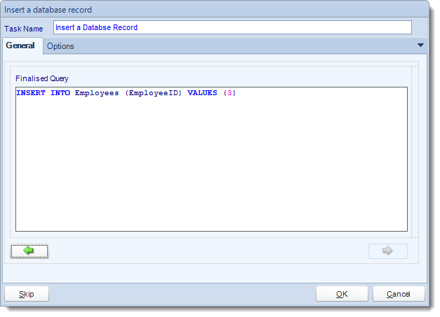 MS Access. Custom Tasks: Insert a record in MARS.