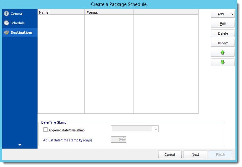 Crystal Reports: Destinations Wizard in Package Report Schedule in CRD.